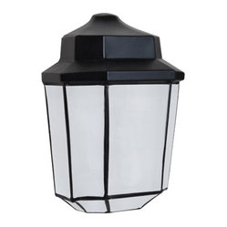 Costaluz 3028 Series Aluminum One-Light Incandescent Wall Sconce with Black Glas