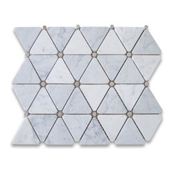 Stone Center Corp - Carrara White Marble Triangle Mosaic Tile Gray Dots 2 3/4 inch Honed - Premium Grade Triangle White Carrara Marble Mosaic tiles. Italian Bianco Carrera White Venato Carrara Honed 2 3/4 inch Triangle Mosaic w/ Gray Round Dots Wall & Floor Tiles are perfect for any interior/exterior projects. The Carrara White Marble Triangle Mosaic tiles with Grey Dots can be used for a kitchen backsplash, bathroom flooring, shower surround, countertop, dining room, entryway, corridor, balcony, spa, pool, fountain, etc.