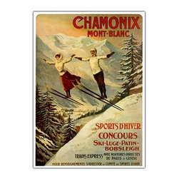 Trademark Global - Chamonix Mont Blanc by Francisco Tamanjo Styl - It's not surprising that the gorgeous French Alps have been an alluring travel destination for a long time, and this vintage style travel poster is the definitive proof.  Here it has been remarkably reproduced by the Giclee method on a framed canvas.  Originally created by artist Francisco Tamajo for the travel and tourist industry, it features skiers in authentic dress of a bygone era.  Any person who loves winter sports will enjoy owning this handsome wall art. Giclee on canvas. Traditional style. Subject: Vintage. Format: Vertical. Size: Large. Canvas material. 24 in. W x 32 in. HGiclee is an advanced printmaking process for creating high quality fine art reproductions. The attainable excellence that Giclee printmaking affords makes the reproduction virtually indistinguishable from the original artwork. The result is wide acceptance of Giclees by galleries, museums and private collectors.