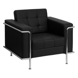 Lesley Contemporary Black Leather Chair with Encasing Frame