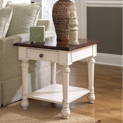 Hammary - Promenade End Table - Add some design flair with the handsome Promenade Rectangular Drawer End Table in Fruitwood/Antique Linen Finish. This rectangular drawer end table is constructed from deluxe pine solids and birch veneers and has been handcrafted and built on a large scale to complement today's high-ceiling homes. Including other intricate details such as dentil molding, bead board backs, cantilevered moldings, band saw cabriole legs and two-toned finishes this smart, stylish and sophisticated drawer end table is sure to breathe life into a home and speak volumes about its owner. Features: -Crafted from deluxe pine solids and birch veneers.-Dentil molding.-Bead board backs.-Cantilevered moldings.-Band saw cabriole legs.-Drawer.-Bottom shelf.-All Hammary products have some distressing.-Fruitwood/Antique Linen Finish.-Promenade collection.-Collection: Promenade.-Distressed: Yes.Dimensions: -Overall Dimensions: 25'' H x 24'' W x 28'' D.