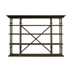 """Stanley Furniture - European Farmhouse-L'Acrobat Open Air Shelf - Introducing the first etagere to stand traditional interior decor on its head. Literally. Our L'Acrobat Open Air Shelf is so flexible, it's almost hard to find enough categories to describe it. Standing at a 90 degree angle from the wall, it serves as an elegant, neo-traditional room divider. Position it behind a sofa or under a bank of stairs and you have a European-inspired open shelving unit. Rearrange the six removable shelves and it becomes a contemporary  center. Lift it onto a companion piece, like our perfectly proportioned Campagne Cabinet, and you've got a breezy new twist on the classic entertainment armoire. Or flip the entire unit over--with the """"crown"""" molding along the floor--for a stylish flat-panel television surround. Not bad for one multipurpose unit. Fully finished on all sides for maximum flexibility. In hand-rubbed iron and selectively harvested Dutch white cedar."""
