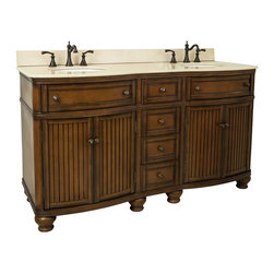 "Hardware Resources - Lyn Design VAN029D-60-T-MC - This 60"" wide MDF double vanity has simple beadboard doors and curved shape to accent the traditional cottage feel. The Walnut finish is created by hand, making each vanity unique. Two large cabinets, fully functional top drawers fitted around plumbing, and a center bank of drawers, equipped with ball bearing slides, provide ample storage. This vanity has a 2CM Cream marble top preassembled with two H8809WH (15"" x 12"") bowls, cut for 8"" faucet spread, and corresponding 2CM x 4"" tall backsplash. Overall Measurements: 60-1/2"" x 23"" x 35"" (measurements taken from the widest point)"