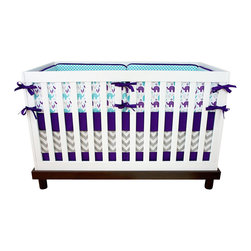"Modified Tot - Baby Bedding Crib Set, Grape Ele - A trending color palette featuring purple and aqua elephants, you won't find this exclusive set anywhere else. The three piece set includes bumpers with hand-stitched fabric ties and contrasting piping, a fitted sheet with elastic all the way around and a four-sided skirt with a 15"" drop. Bumpers are created in six separate pieces for easy transition to a toddler bed, they measure 1"" thick and 10"" high. All items are proudly made in the USA. All products are made to order."