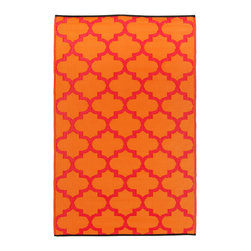 Fab Habitat - Tangier Rug, Orange Peel & Rouge Red, 6x9 - Just because indoor/outdoor rugs are so practical, it doesn't mean they have to look rugged. This one's Moroccan-inspired pattern is more stylish than recycled plastic has any business being. Washable, lightweight and reversible, you can take it on the lawn for picnics, leave it on the pool deck for sunbathing or put it in the kitchen for a mess resistant pop of color.