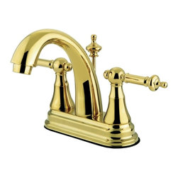 """Kingston Brass - Two Handle 4"""" Centerset Lavatory Faucet with Brass Pop-up KS7612TL - This faucet embodies all the traditional qualities of classic refined elegance. Its unique steeple-shaped design and hook-shaped spout will give your bathroom that one-of-a-kind look. This faucet has a deck mount setup and features a 4"""" centerset installation. The body is fabricated from solid brass for durability and long-lasting use. The color finish is made of polished brass for that golden reflective shine, as well as resisting scratches, corrosion and tarnishing. The spout has a reach of 5"""" and a height of 6"""". The handles allow for easy management of water volume and temperature. The faucet operates with a ceramic disc valve for droplet-free functionality with the water measured 2.2 GPM (8.3 LPM) and a 60 PSI maximum rate.  An integrated removable aerator is inserted beneath the spout's head piece for conserving water flow.  A brass pop-up drain in a matching finish is included. All mounting hardware is included and standard US plumbing connections are used. A 10-year limited warranty is provided to the original consumer.. Manufacturer: Kingston Brass. Model: KS7612TL. UPC: 663370036705. Product Name: Kingston Brass Templeton Two Handle 4"""" Centerset Lavatory Faucet with Brass Pop-up. Collection / Series: Templeton. Finish: Polished Brass. Theme: Classic. Material: Brass. Type: Faucet. Features: Drip-free ceramic cartridge system"""