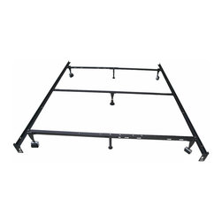 Khome - Khome 7-Leg Super Duty Adjustable Metal Bed Frame - 7 Legs Heavy Duty More Safer, Adjustable Metal Bed Frame With Rug Rollers & Locking Wheels.