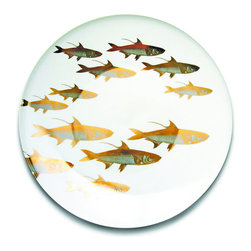 Frontgate - Caskata School of Fish Charger - Food-safe gold and platinum. Lead-free white porcelain. Not microwave-safe. Hand wash. Sparkling platinum and gold bring an elegant seascape to your tabletop. With beautiful hand-applied detailing contrasted against white porcelain, our School of Fish Dinnerware Collection captures the metallic tones seen in sea life and underwater flora.  .  .  .  .