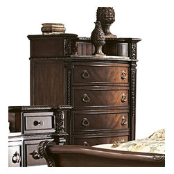 Homelegance - Homelegance Palace 44 Inch Chest with Marble Insert in Brown Cherry - The Palace collection exemplifies the rest of Old World Europe. With egg and dart base moldings, rope twists under case tops and on bed posts, acanthus and tobacco leaf carvings, florets and inset marble tops, the Palace collection has it all.