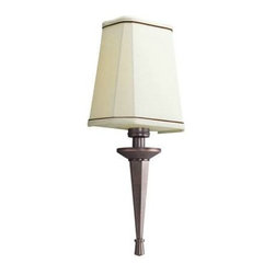 """Kichler - Kichler 10656RBZ Paramount 1 Light Fluorescent Wall Sconce in Royal Bronze 10656 - The Paramount Collection is a crispy faceted linen shade with matching faceted decorative tail. Electronic Ballast Linen Shade with Brown Accent Trim Diffuser PLC Bulb Base Energy efficient Bulb Type: Compact Fluorescent Bulbs Included: No Collection: Paramount CSA Listed: Damp Energy Efficient: Yes Extension: 4"""" Finish: Royal Bronze Height: 19-1 2 Light Direction: Up Lighting Material: Steel Maximum Wattage: 18 Number of Lights: 1 Sconce Type: Wall Sconce Socket 1 Base: GU24 Socket 1 Max Wattage: 18 Socket Type: QAD4 Standard Pack: 1 Style: Classic Suggested Room Fit: Living Room Ul Listed: CSAD Weight: 6.5 Width: 4-5 8 manwarranty ENDHCMLElectronic Ballast Linen Shade with Brown Accent Trim Diffuser PLC Bulb Base Energy efficientBulb Type: Compact Fluorescent Bulbs Included: No Collection: Paramount CSA Listed: Damp Energy Efficient: Yes Extension: 4"""" Finish: Royal Bronze Height: 19-1 2 Light Direction: Up Lighting Material: Steel Maximum Wattage: 18 Number of Lights: 1 Sconce Type: Wall Sconce Socket 1 Base: GU24 Socket 1 Max Wattage: 18 Socket Type: QAD4 Standard Pack: 1 Style: Classic Suggested Room Fit: Living Room Ul Listed: CSAD Weight: 6.5 Width: 4-5 8"""