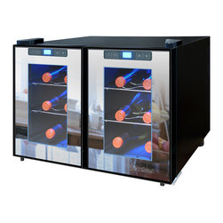 Vinotemp - Vinotemp - 12-Bottle Dual-Zone Touch Screen Mirrored Wine Cooler - Store your wine collection in the sleek 12-Bottle Dual-Zone Touch Screen Thermoelectric Wine Cooler by Vinotemp. This modern wine cooler features two compartments with independent controls that enable you to store your red and white wines at different temperatures. This energy saving unit holds up to 6 bottles per side on four sturdy chrome shelves.