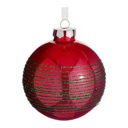 Silk Plants Direct - Silk Plants Direct Glittered Glass Ball Ornament (Pack of 6) - Red - Silk Plants Direct specializes in manufacturing, design and supply of the most life-like, premium quality artificial plants, trees, flowers, arrangements, topiaries and containers for home, office and commercial use. Our Glittered Glass Ball Ornament includes the following: