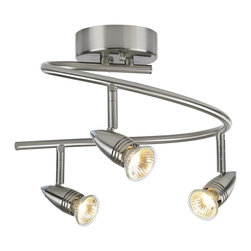 "ProTrack - Contemporary Pro Track® 150 Watt Three Light Spiral Ceiling Light Fixture - This stylish Pro Track Spiral ceiling light fixture provides instant glamour and visual appeal. A great look for kitchen or office lighting. The three bullet lights can be used to light plants work areas and more. Satin nickel finish. Includes three 50 watt GU-10 halogen bulbs. 11"" wide. Extends 9"" from ceiling.  Satin nickel finish.  Adjustable light heads.  Spiral shape.  By ProTrack lighting.  Includes three 50 watt GU10 halogen bulbs.  11"" wide.  Extends 9"" from ceiling."
