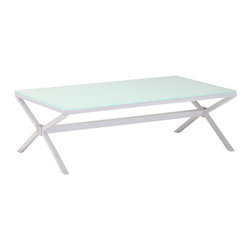 Zuo Modern - Zuo Xert Coffee Table in White - Coffee Table in White belongs to Xert Collection by Zuo Modern Add a stylish piece to any living space with the Xert coffee table, Comes in a gray with frosted glass or white with painted glass. Coffee Table (1)