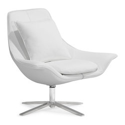 Zuo Modern - Vital Lounge Chair White - Easily relax with the Vital lounge chair and ottoman. Plush foam seat, leatherette body, and a solid stainless steel base. Prop up those tired dogs and relax in style.