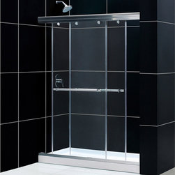 "BathAuthority LLC dba Dreamline - Charisma Frameless Bypass Sliding Shower Door, 56 - 60"" W x 72"" H, Chrome - The Charisma shower door has a unique no wall profile design, combining the beauty of frameless glass with the convenience the sliding bypass operation. Most bypass shower doors require significant aluminum framing. Lose the aluminum and discover the sleek look of a frameless sliding bypass glass design."