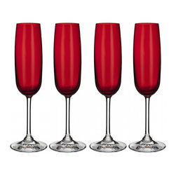 Waterford - Marquis by Waterford Vintage Red Flute, Set of 4 - Clean and contemporary, the Vintage Entertaining Collection from Marquis by Waterford is characterized by modern styling and full-bodied elegance. Vintage Red celebrates the wonderful world of color with gorgeous deep red colored stemware and barware.