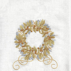 Anali - Gold Garland Linen Guest Towel - Dress your guest bath for the holidays with this linen hand towel. The wreath is embroidered with metallic threads for just the right amount of sparkle.