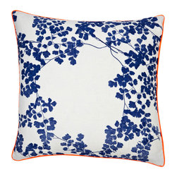 ORANGE AND BLUE WHITE LINEN PILLOW - bonnie and neil