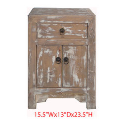Nightstand End Table Chinese Antique Rustic Solid Elm Wood Cabinet - This is a Chinese rustic nightstand end table which is made of solid elm wood.