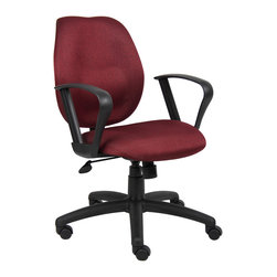 "Boss Chairs - Boss Chairs Boss Burgundy Task Chair w/ Loop Arms - Mid-back styling with firm lumbar support. Elegant styling upholstered with commercial grade fabric. Sculptured seat cushion made from molded foam that contours to the shape of your body. Ratchet back height adjustment mechanism which allows perfect positioning of the back cushion and lumbar support. Standard loop arms. Large 27"" nylon base for greater stability. Pneumatic gas lift provides instant height adjustment of the seat. Adjustable tilt tension that accommodates all different size users. Hooded double wheel casters. Upright locking position."