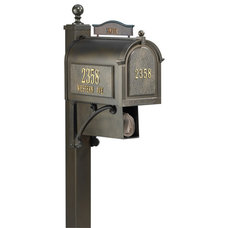 Contemporary Mailboxes Whitehall Ultimate Mailbox Package in Bronze