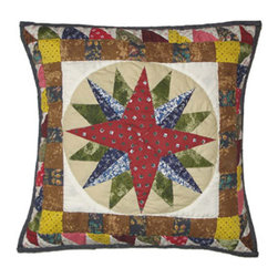 Patch Quilts - Mariners Star Toss Pillow 16 x 16 Inch - Decorative patchwork quilted pillow  - Accents with ensembles and bedding items from Patch Magic,   - Machine washable  - Line or Flat dry only Patch Quilts - TPMRNS