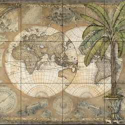 The Tile Mural Store (USA) - Tile Mural - Terra Graphic Ii - Kitchen Backsplash Ideas - This beautiful artwork by Charlene Olson has been digitally reproduced for tiles and depicts a dual map with a palm tree in foreground.  Tile murals of maps are timeless and are excellent to add to your kitchen backsplash tile project or your tub and shower surround bathroom tile project. Images of maps on tiles add a unique element to your tiling project and are a great kitchen backsplash idea. Use a map tile mural for a wall tile project in any room in your home where you want to add interest to a plain field of wall tile.