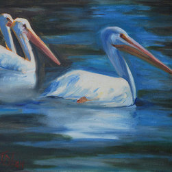 Birds Of A Feather (Original) by Billie Colson - Every summer we have a flocks of these Great White American pelicans.  On this day there were over 20.  I was lucky enough to get a few shots to do this painting.