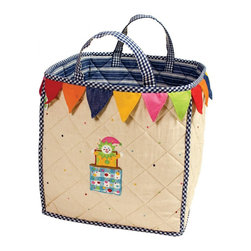 "Wingreen - WinGreen Bag - Toy Shop - Our Toy Shop Toy Bag is lightly padded and is appliqued and embroidered with a colorful jack-in-the-box and finished with a multi-colored 'bunting-style' border.  Navy multi-stripe lining and navy mini-gingham trim. Machine washable. Size: 15.75"" x 15.75"""