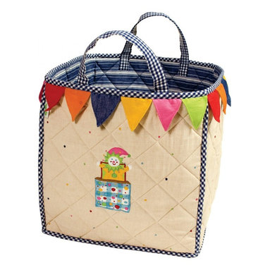 """Wingreen - WinGreen Bag - Toy Shop - Our Toy Shop Toy Bag is lightly padded and is appliqued and embroidered with a colorful jack-in-the-box and finished with a multi-colored 'bunting-style' border.  Navy multi-stripe lining and navy mini-gingham trim. Machine washable. Size: 15.75"""" x 15.75"""""""