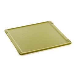 Jelli® Green Nonslip Reversible Cutting Board - Every modern breakthrough in efficient prep is represented in these colorful boards of high-density polypropylene. Reversible design doubles the convenience, while nonslip feet grip surfaces and raised rims keep food in control. Solid one-piece design ensures stability of gripper feet. All-purpose boards protect counters and tables from scratches.
