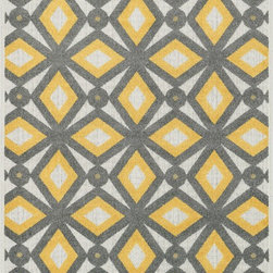 """Loloi Rugs - Loloi Rugs Oasis Collection - Grey / Lemon, 2'-3"""" x 3'-9"""" - Boldly designed and brightly colored, our Oasis Collection transforms any outdoor space into a modern patio paradise. This collection is power loomed in Egypt, ensuring precision in color and design for each and every piece. And because the 100% polypropylene yarns are specially tested to withstand UV rays and rain, it's the perfect all-weather rug."""