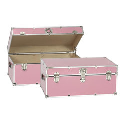 Artisans Domestic - Storage Trunk in Pink - Vintage style. Handcrafted. Lined with cabinet grade birch. Removable storage tray. Wheels and leather strap handles for moving easily. Steel latches and a lock with two keys. Heavy gauge steel trim and corner pieces. Made in USA. 32 in. W x 18 in. D x 14 in. H (39 lbs.)The Artisans Domestic Heirloom Steamer Trunk can be used for toys, games, clothes, keepsakes, a memory box or even as a coffee table. Add your own college logos or decals or just let the modern retro design speak for itself.