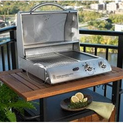"20"" Electric Grill in Stainless Steel - The 20"" Electric Grill in Stainless Steel will absolutely cook your favorite dishes to a great satisfaction. The temperature probe makes perfect medium-rare decisions. Great for apartments and condos. You can even use it on top of your stove and grill indoors. It is portable and easy to use. Just plug it in and voila! it will instantly produce all the heat you need for even, gourmet convection grilling."
