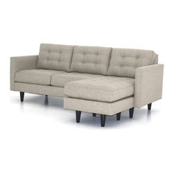 Apt2B - Beverly Revers. Chaise Sofa, Woven Gravel - This mod-looking chaise sofa mixes retro and contemporary styles with hipster flair, combining a boxy midcentury design with tapered wooden legs and a lounge-worthy ottoman that can go on either side. The textured, button tufted upholstery adds a vintage sports coat vibe.