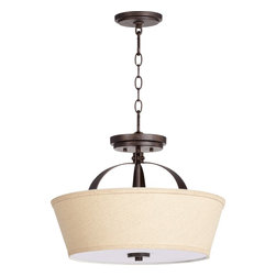 Quorum Lighting - Quorum Lighting Gateway Transitional Inverted Pendant Light X-48-81-9192 - This LBL Lighting Gateway Transitional Inverted Pendant Light is a light fixture that's sure to stand out in your home. Notice how the gentle curves of the frame and beautiful, oatmeal linen shade hangs effortlessly from a chain. It's a bold and handsome three-light piece that's perfectly suited to be the centerpiece of most any room.