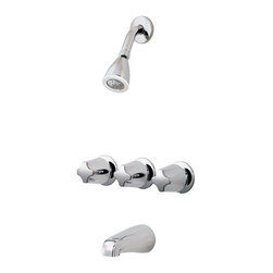 """Price Pfister - Price Pfister 01-111 Bedford Triple Handle 1/2"""" CC Tub and Shower Faucet Less St - Price Pfister 01-111 Bedford Triple Handle 1/2"""" CC Tub and Shower Faucet Less Stops in Polished ChromeFlawless craftsmanship and affordable pricing are highlights of the Bedford Collection. These popular designs and various handle options are a favorite among all. This tub and shower faucet comes complete with everything you need for installation; three metal verve handles, a standard shower head with arm, tub spout, rough valve, and trim. Constructed of solid brass and featuring ceramic disc valves, this unique design is finished in polished chrome to create a serene atmosphere.Price Pfister 01-111 Bedford Triple Handle 1/2"""" CC Tub and Shower Faucet Less Stops in Polished Chrome, Features:• 3 Handle"""