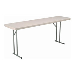 KFI Seating - 72 in. x 18 in. Rectangular Blow-Molded Foldi - Lightweight blow-molded folding table. 1.75 in. Thick granite table top. 17 Gauge - 1 in. Grey powder-coated steel legs. Easy to move and store. Assembles in seconds. 72 in. L x 18 in. W x 29 in. H