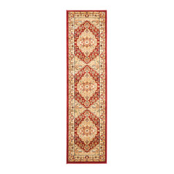 """Safavieh - Shakir Rug, Red / Creme 2'3"""" X 8' - Construction Method: Power Loomed. Country of Origin: Turkey. Care Instructions: Vacuum Regularly To Prevent Dust And Crumbs From Settling Into The Roots Of The Fibers. Avoid Direct And Continuous Exposure To Sunlight. Use Rug Protectors Under The Legs Of Heavy Furniture To Avoid Flattening Piles. Do Not Pull Loose Ends; Clip Them With Scissors To Remove. Turn Carpet Occasionally To Equalize Wear. Remove Spills Immediately. The dramatic patterns of heirloom Serape, Sultanabad and Oushak rugs are recreated for 21st century lifestyles in the Austin Collection. Power-loomed of long-wearing, easy-care polypropylene, each rug stands up to heavy traffic while adding timeless beauty to entry hall, living room, kitchen and more."""