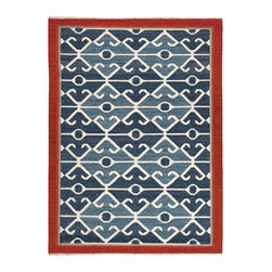Anatolia Smoke Blue & Red Flat Weave Rug - A rich border the color of new brick makes a transition between your floor treatment and the bold, elemental eyes and curves that form the pattern of the Anatolia flat-weave rug.� Made from� 100% wool crafted into a traditional kilim pattern in shades of slate blue, this artisan rug is dramatic and distinctive, mingling regular geometry with affecting curls for a worldly statement.