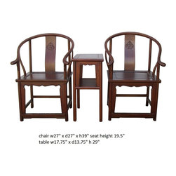 Chinese Horseshoes Armchair Table 3 Pieces Set - This is a set of traditional Chinese armchair set with two horseshoes-back armchair and one side table. It was used to meet friends or welcoming visitors in the grand room or livinging room. It has simple smooth curve finish on the body. Its clean and subtle design is good for simple room decoration.