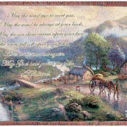 Manual - Thomas Kinkade Emerald Valley Tapestry Throw Blanket 50 Inch x 60 Inch - This multicolored woven tapestry throw blanket is a wonderful addition to any home. Made of cotton, the blanket measures 50 inches wide, 60 inches long, and has approximately 1 1/2 inches of fringe around the border. The blanket features a depiction of Thomas Kinkade's 'Emerald Valley', along with an Irish prayer. Care instructions are to machine wash in cold water on a delicate cycle, tumble dry on low heat, wash with dark colors separately, and do not bleach. This comfy blanket makes a great gift for friends and family.