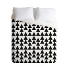 DENY Designs - Holli Zollinger Triangles Black Duvet Cover - Turn your basic, boring down comforter into the super stylish focal point of your bedroom. Our Luxe Duvet is made from a heavy-weight luxurious woven polyester with a 50% cotton/50% polyester cream bottom. It also includes a hidden zipper with interior corner ties to secure your comforter. it's comfy, fade-resistant, and custom printed for each and every customer.