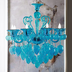 Aqua Blown Glass Chandelier Modern Glamour Murano Light Fixture - Put the finishing touches on a vibrant interior with this chic aqua blown glass eight light chandelier. This piece brings European sophistication to traditional or contemporary designs. With artfully scrolled aqua glass and drops, this colorful chandelier looks both modern and glamorous in virtually any space.