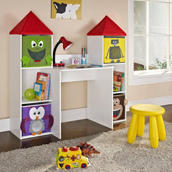 Altra Furniture - Altra Furniture Castlebrook Kids Desk Multicolor - 7880096 - Shop for Childrens Desks from Hayneedle.com! Bright colorful and supremely functional the Altra Furniture Castlebrook Kids Desk features three bookcase cubby storage areas on each side and four foldable removable storage bins in the likeness of a frog robot monkey and owl in non-woven fabric. Center mesh on the bins reveals the items neatly contained inside. The center work space leaves plenty of room for papers supplies and lighting. Remove the red castle tops and replace the storage bins for continued use as your child ages and his or her interests change. Built of engineered wood in a painted white finish this desk and storage unit is recommended for ages 3 and up and comes with a one-year limited warranty with parts replacement.About Altra FurnitureFor two decades Altra has been dedicated to creating beautiful furniture that enhances the work and play experience. Their designers are excited by the same things that interest you great home theater systems multi-user video gaming building a business at home trying out our new laptop and doing it all in style. This means that they strive to understand the functions of these diverse tasks as well as what makes the user experience insanely great. Altra s mutual enjoyment of these goals includes delivering furniture that is fun affordable and environmentally responsible.