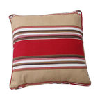 NLA - Brushed Twill Cotton Stripe Red/ Khaki Throw Pillows (Set of 2) - These brushed twill decorative pillows are the perfect accent to any room in your home. These throw pillows feature a stylish stripe design in luxurious colors.
