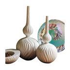 Global Views - Magura Vase- Medium - This elegant snow colored ceramic magura vase is perfect for any room.