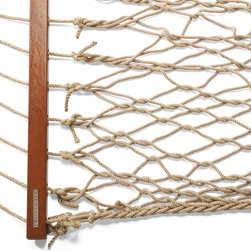 Frontgate - Classic Rope Hammock - Fade- and stain-resistant polyester. Solid Camaru wood spreaders and zinc-plated hardware. Colorfast rope. 450 lb. weight limit. Hammock stand sold separately. Our Classic Rope Hammock suspends you in a comfortable position that literally relieves pressure across your entire body – from the knees and hips, up to your back and neck. . . . . .