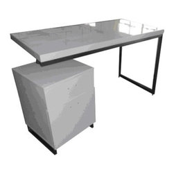 Moe's Home Collection - Martos Desk - Features: -Material: MDF.-Polished stainless steel legs.-Desk with filing cabinet.-White finish.-Distressed: No.Dimensions: -Dimensions: 29.5'' Height x 47.2'' Width x 23.6'' Depth.-Overall Product Weight: 83.8 lbs.